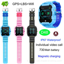 Hot 4G Waterproof Smart GPS Tracker Video Call Watch for kids D48