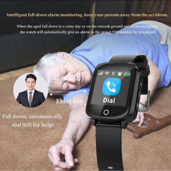 Waterproof Senior GPS Tracking Watch with Heart Rate & Blood pressure and Fall down detection D28W