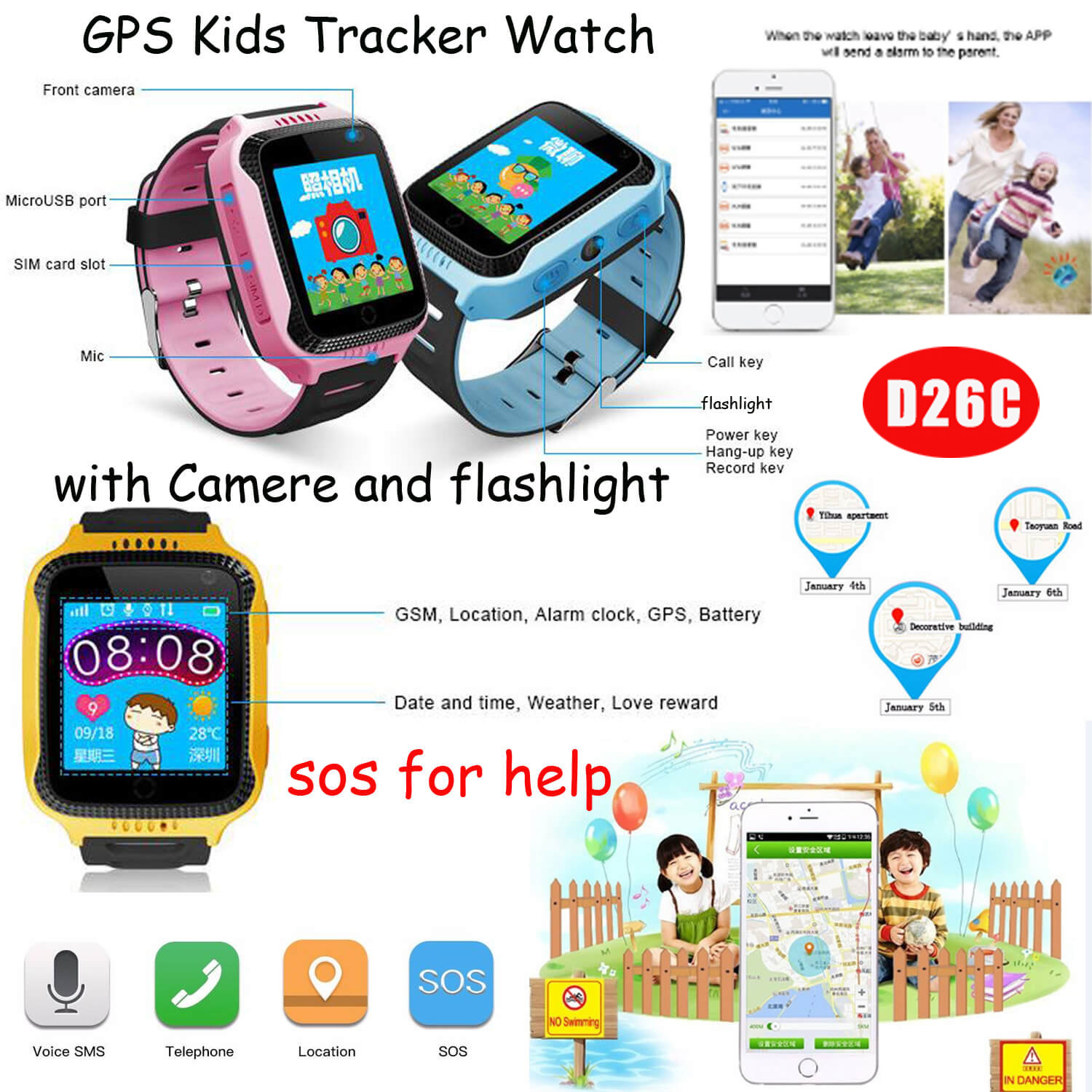 Children GPS Tracker watch with Camera and Flashlight (D26C)