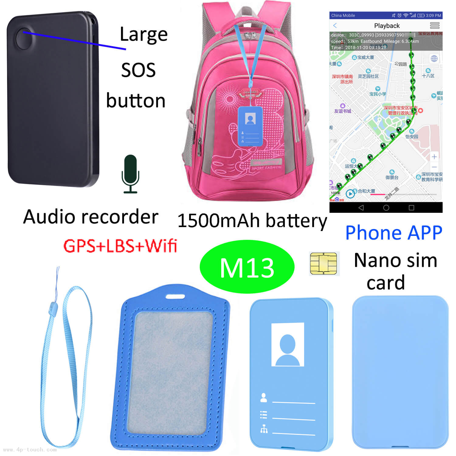 Two Colours Mini Multipurpose GPS Tracker ID Card for Students M13