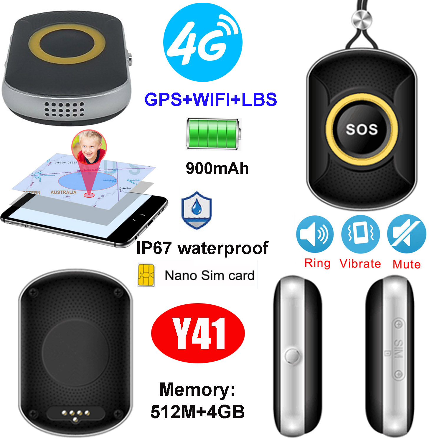 Waterproof IP67 900mAh Battery GPS Tracking Device with Sos Button Y41