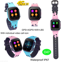 IP67 Waterproof Multi-languages Children GPS Smart Tracker Watch with Video Call D47