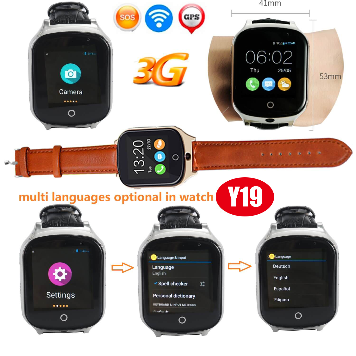 3G WCDMA Adult GPS Tracker Watch with Camera Y19