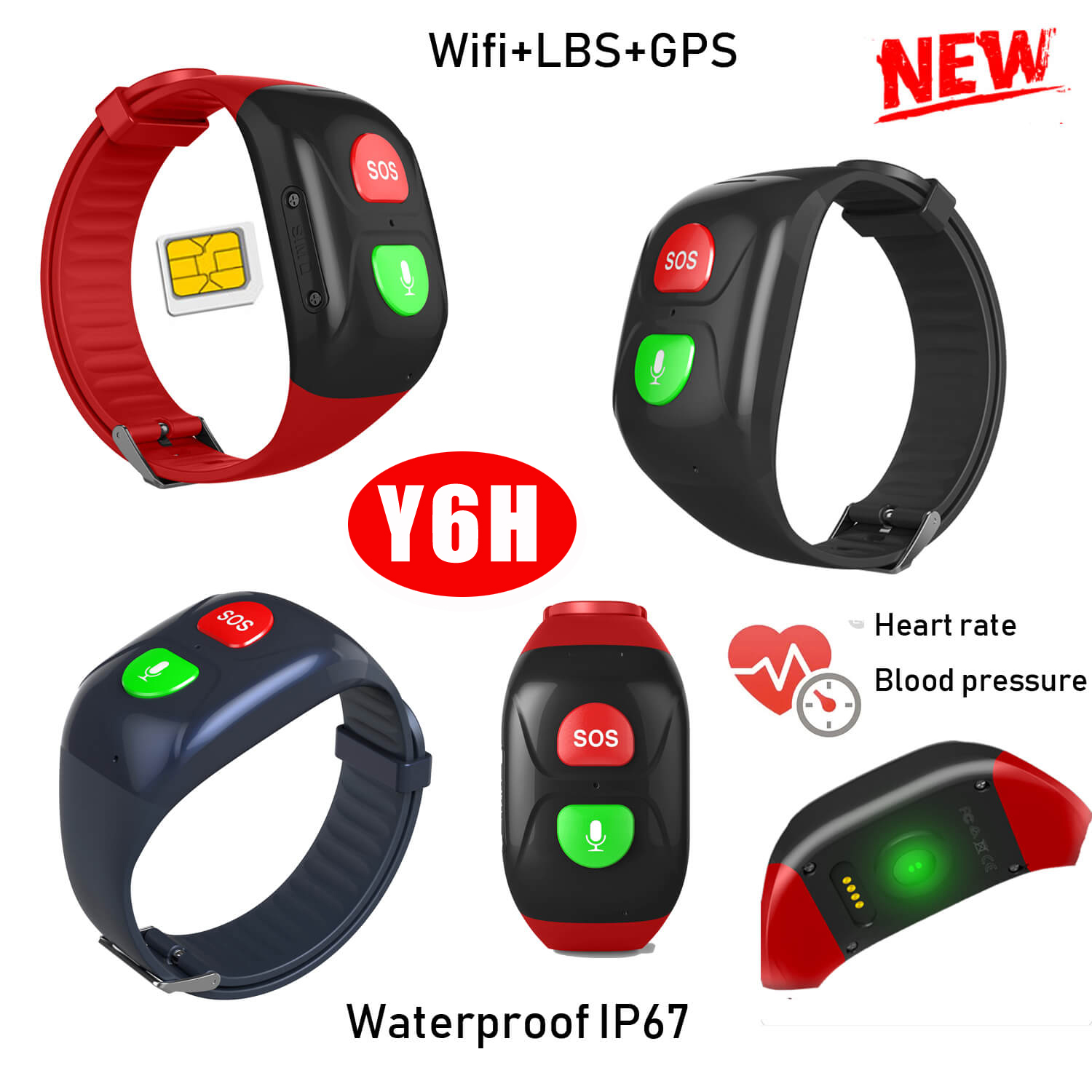 Elderly GPS Tracker Bracelet with Heart Rate and Bpm Y6H