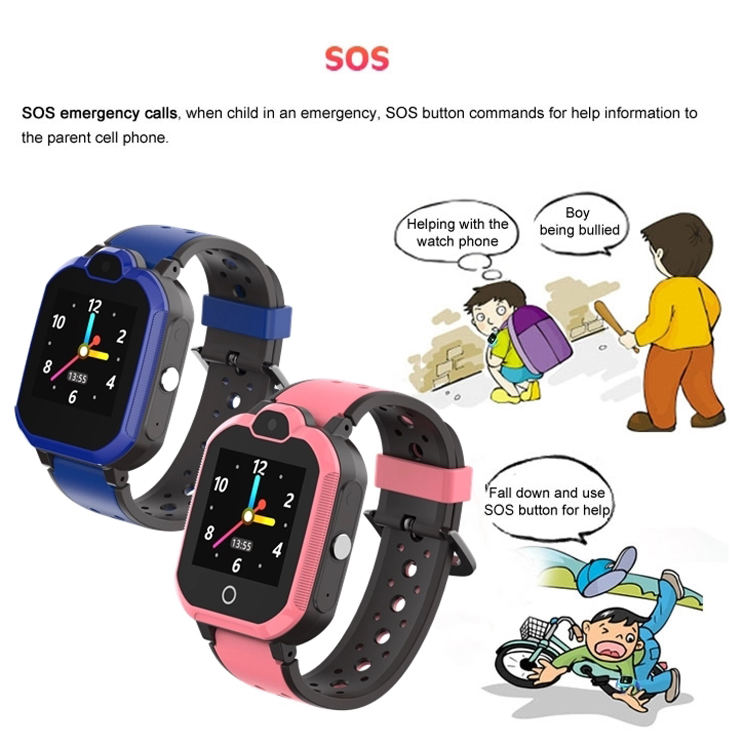 4G Waterproof Video Call GPS Smart Watch Device with CE approved D43