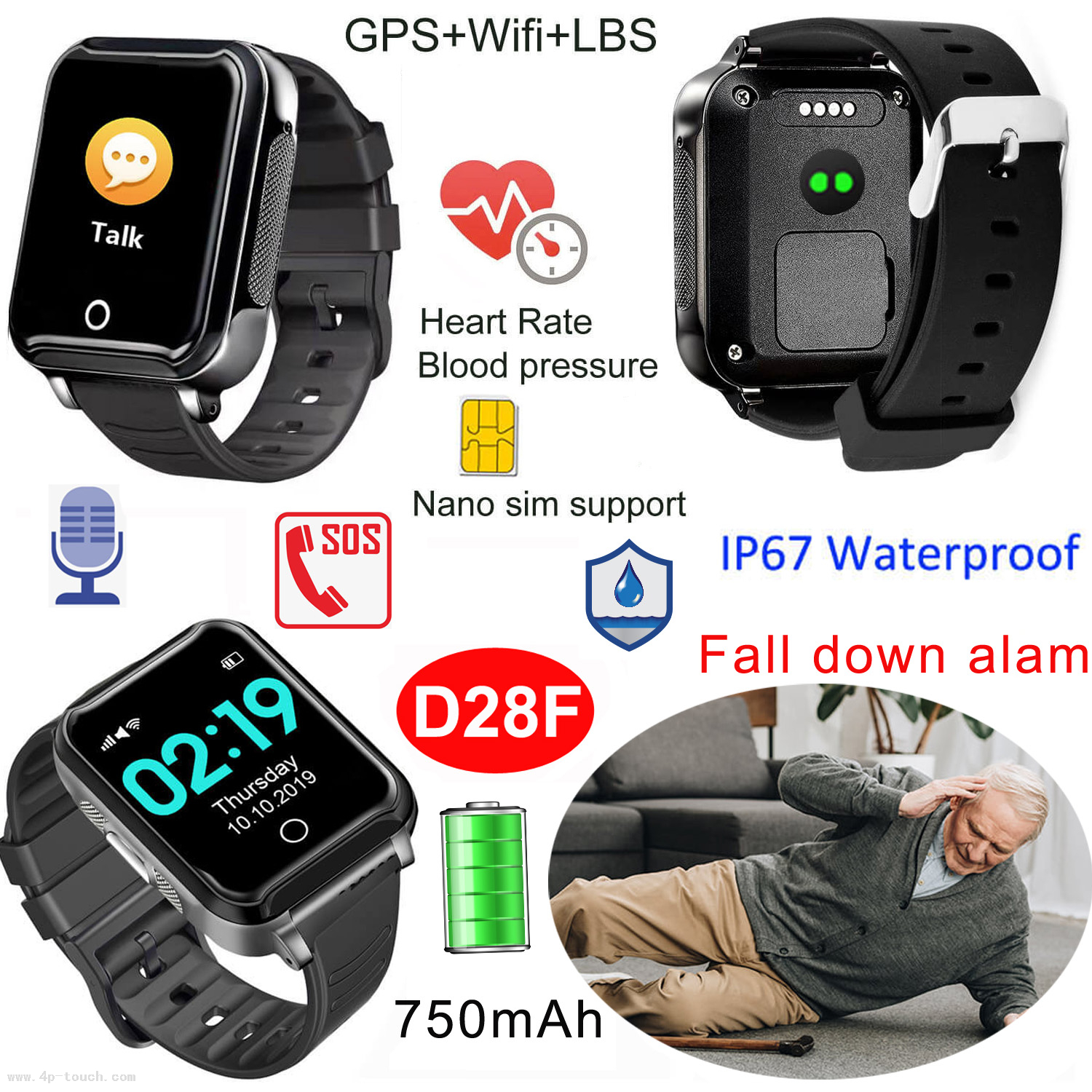 Fall Down Alarm Waterproof Senior GPS Watch with Heart rate and Blood pressure Monitor D28F