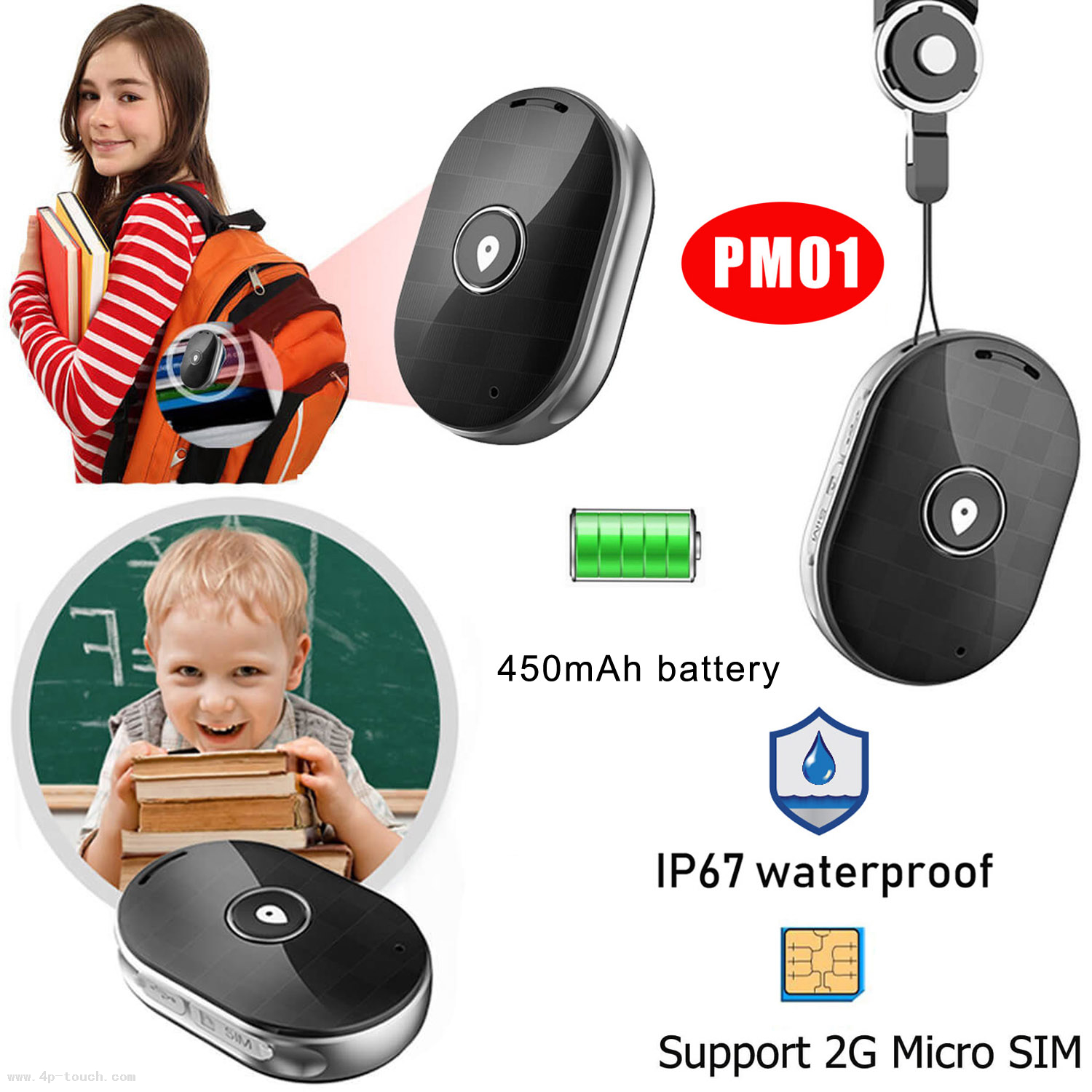 Sos Call Personal Mini GPS Tracker with IP67 Waterproof PM01