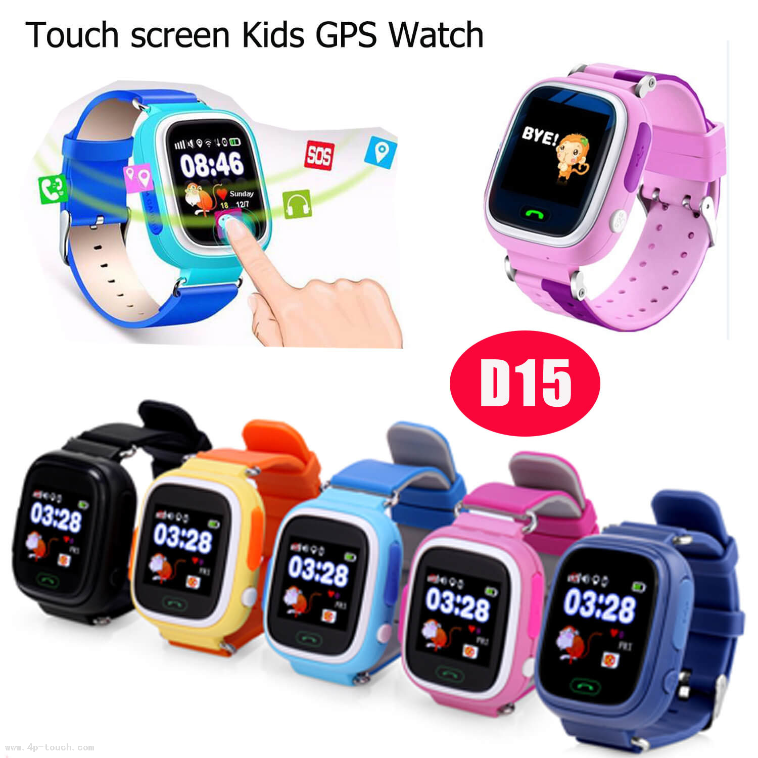 Colorful safety GPS Tracker Watch Locator with multiple accurate position D15