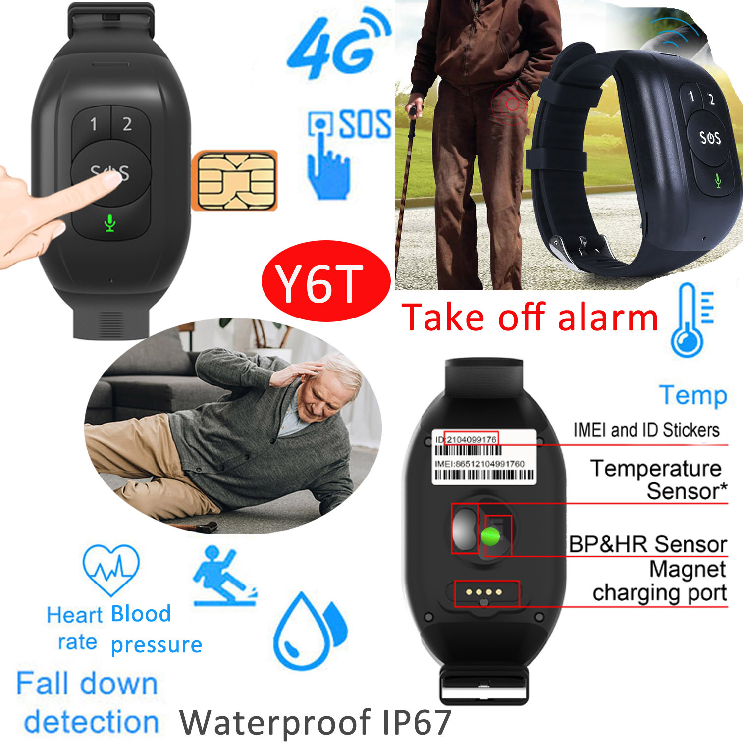2021 Temperature 4G/LTE Smart GPS Tracker watch with Fall alarm