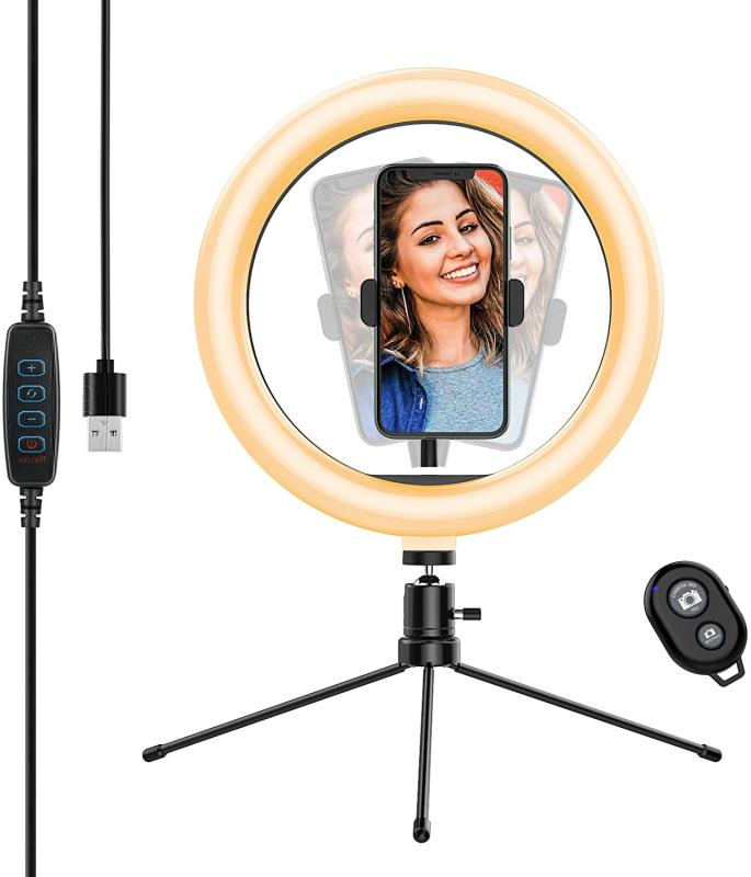 2020 Newest Phone Photography Gadgets LED Selfie Ring Light Tripod Makeup Lamp