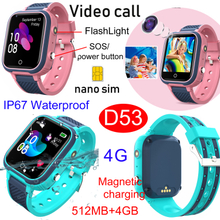 4G new Waterproof IP67 Smart Watch tracker GPS with Flashlight Video call SOS D53