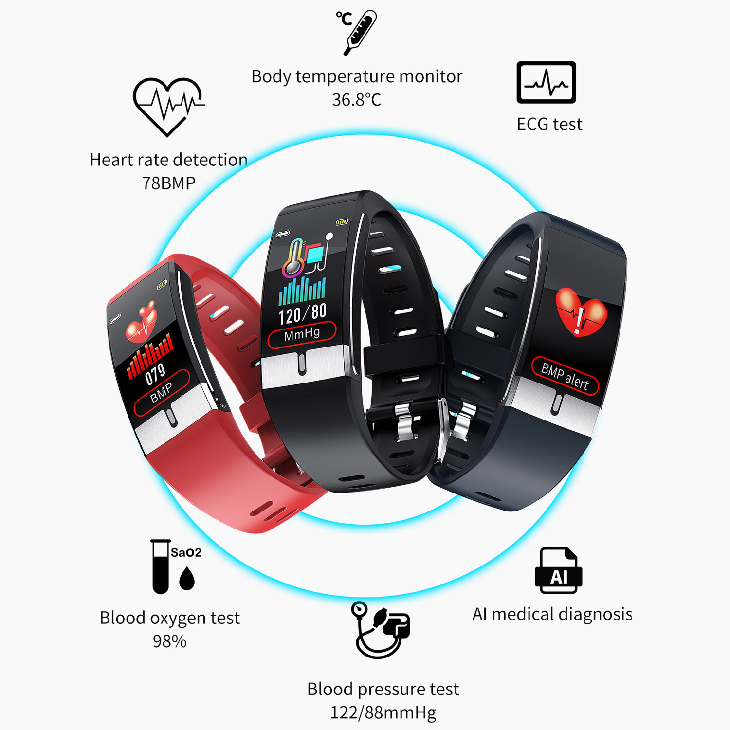 IP68 Waterproof Bluetooth Body Temperature Smart Bracelet with PPG+ECG E66